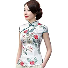 Shanghai Story Women's Faux Silk Tang Suit Chinese Shirt Blouse Top