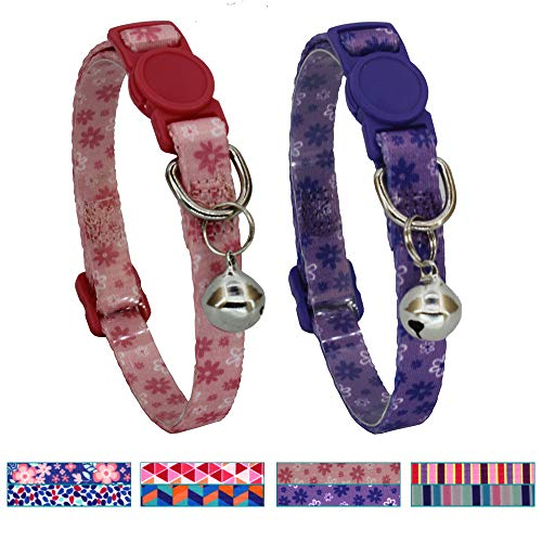 Leepets 2 Pack/Set Breakaway Cat Collar with Bell Safe and Cute Kitten Collar, Adjustable 7-12 Inch, 3/8 Wide, Pink/Purple Flower Pattern
