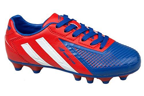 gibra® Zapatos de Fútbol para hombre, color rojo/azul, talla 41–