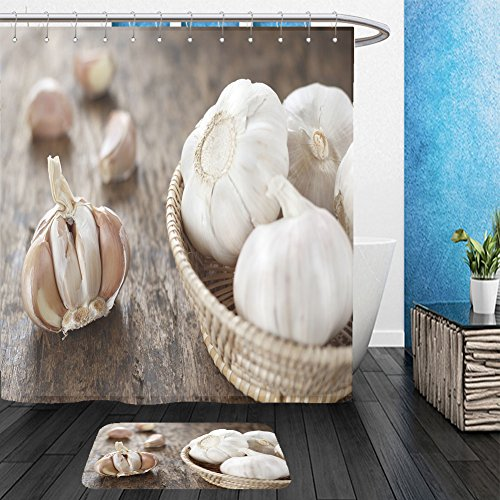 Garlic Bulb Costume (Vanfan Bathroom 2 Suits 1 Shower Curtains & 1 Floor Mats garlic bulb in wicker basket garlic cloves on old wooden background 282101708 From Bath room)