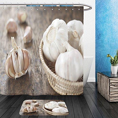Garlic Bulb Costume (Vanfan Bathroom 2Suits 1 Shower Curtains & 1 Floor Mats garlic bulb in wicker basket garlic cloves on old wooden background 282101708 From Bath room)