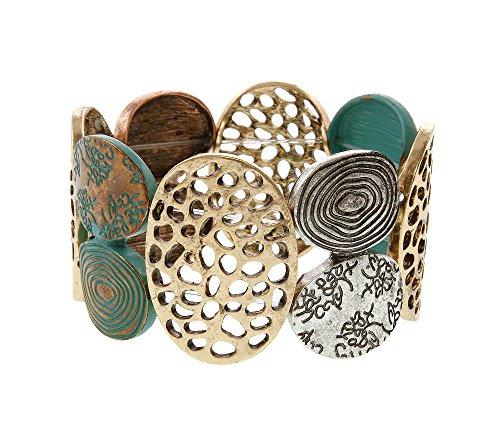 Erica Lyons Tri Tone Mix Stretch Bracelet
