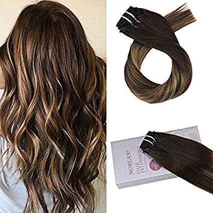 Moresoo 20 inch Remy Clip in Human Hair Balayage Colored Off Black 1B to 3 Brown and Blonde 27 Clip in Human Hair Extensions Full Head 7pcs 100 Grams Double Weft Human Hair Extensions