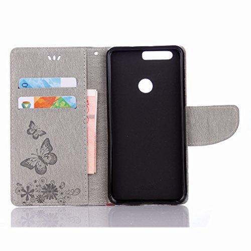 Yiizy Huawei Honor 8 Custodia Cover, Farfalla Fiore Design Sottile Flip Portafoglio PU Pelle Cuoio Copertura Shell Case Slot Schede Cavalletto Stile Libro Bumper Protettivo Borsa (Grigio)
