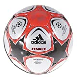 adidas Finale 9 Sportivo Soccer Ball, Metallic White/Metallic Silver/Black / Red, 5