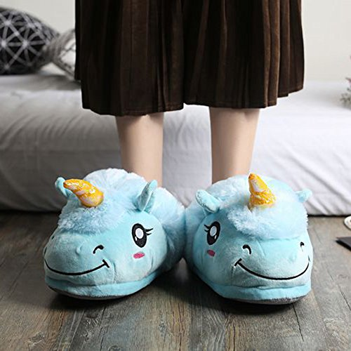 for ChicPro Slippers Warm Cute Plush Blue Unicorn Indoor One Kids Adults Slipper amp; Women's House Soft Size pwpr7