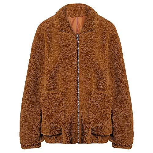 Jacket L S Invierno Suelto Cárdigan Sintética Cremallera Bolsillos Con De Café Caliente Passosie Mujer Abrigo Chaqueta Piel Lana Y qFzxHa