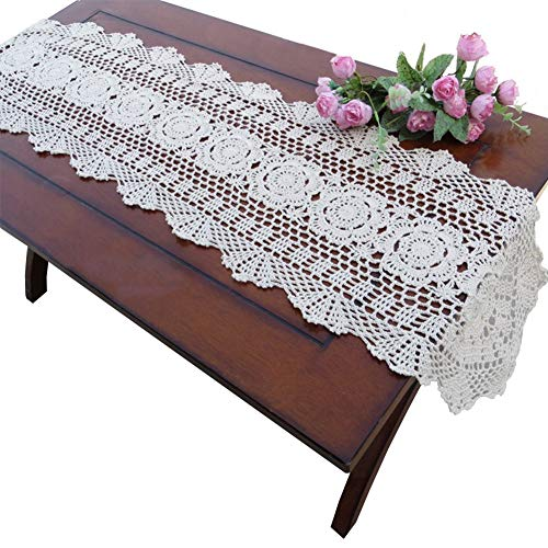 yazi Hand Crochet Table Runner Rustic Floral Tablecloth Pure Cotton Table Cloths Oval Table Covers for Cabinet 11.8
