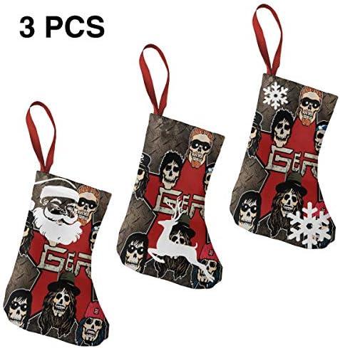 クリスマスの日の靴下 (ソックス3個)クリスマスデコレーションソックス 音楽Guns N' Roses クリスマス、ハロウィン 家庭用、ショッピングモール用、お祝いの雰囲気を加える 人気を高める、販売、プロモーション、年次式