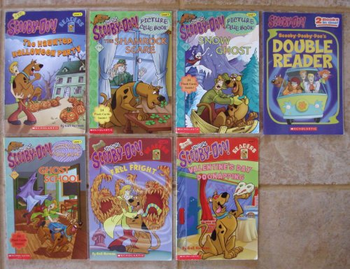 Set of 7 Scooby-Doo Readers: Level 1-2 (Fall Fright ~ Ghost School ~ Haunted Halloween Party ~ Shamrock Scare ~ Snow Ghost ~ Valentine's Day Dognapping ~ Scooby-Dooby-Doo's Double Reader: -