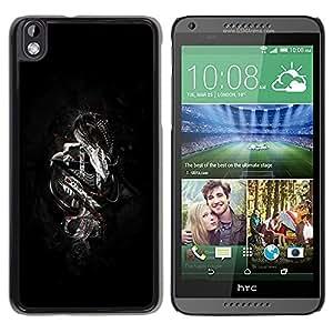 TopCaseStore / la caja del caucho duro de la cubierta de protección de la piel - Chrome Metal Dragon - HTC DESIRE 816