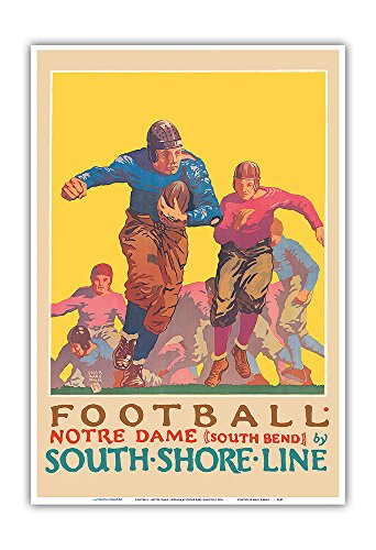 Pacifica Island Art Football - University of Notre Dame, Indiana - South Shore Line, South Bend Station - Vintage Railroad Travel Poster by Oscar Rabe Hanson c.1926 - Master Art Print - 13in x 19in