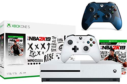 Microsoft Xbox One S 1TB NBA 2K19 Bundle + Midnight Forces II Special Edition Wireless Controller | Include:Xbox One S 1TB Console ,NBA 2K19 Full-Game, Wireless Controller
