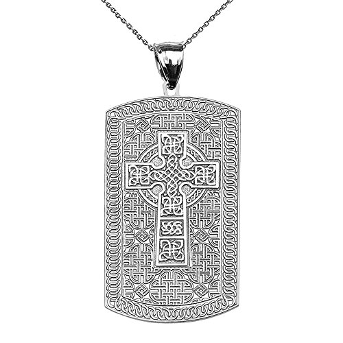 14k Engraveable Cross Pendant - Celtic Cross Trinity Knot 14k White Gold Engraveable Dog Tag Pendant Necklace 22