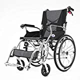 Travel Wheelchair,Aluminum Travel Lightweight Folding Portable Wheelchair Breathable Pad Manual Wheelchair