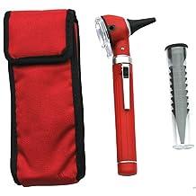 Fiber Optic Mini Otoscope Set - Medical Diagnostic Examination Set - Pocket Size - (RED)