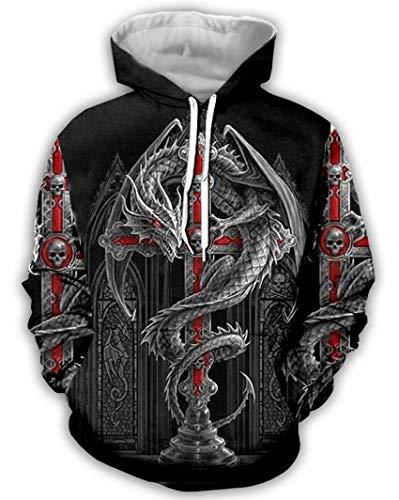 Takra Gold Boys Tattoo Dragon Hoodie Men 3D Print Sweatshirt