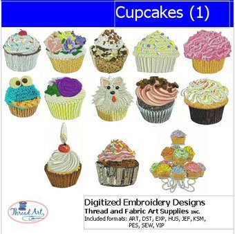 Machine Embroidery Design Cupcake - Threadart Machine Embroidery Designs - Cupcakes(1) - USB Stick