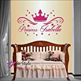 Wall Vinyl Decal Home Decor Art Sticker Princess Crown With Stars Customized Name Girl Kids Nursery Play Room Removable Stylish Mural Unique Design