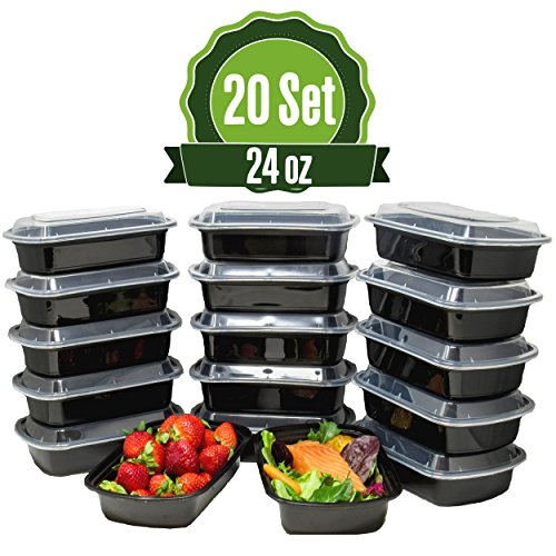 (Meal Prep Food Storage Containers with Lids, 1 Compartment 24 oz (20 Set) - BPA Free, Lunch Portion Control, Dishwasher, Freezer Safe, Microwavable, Reusable or Disposable Plastic Bento boxes)