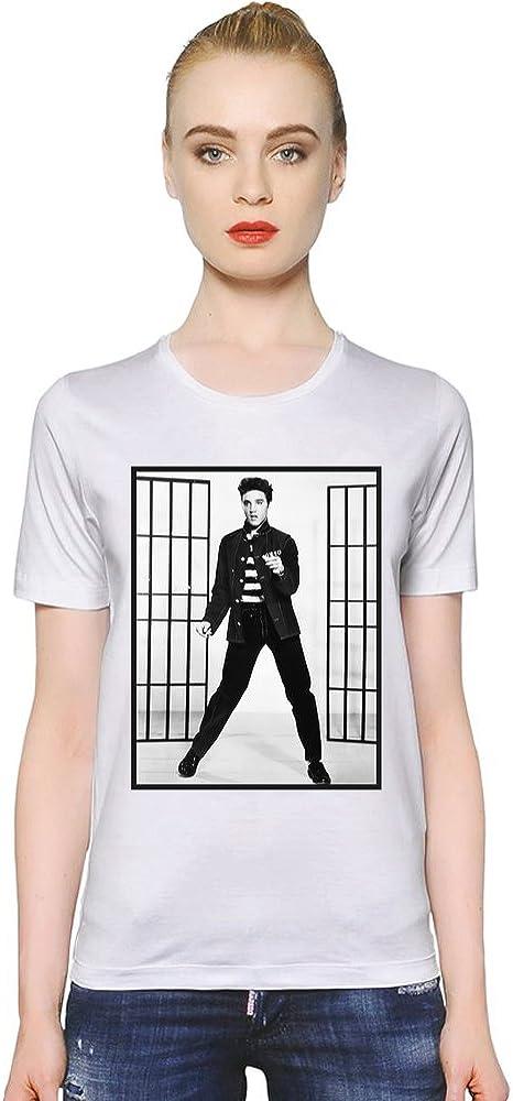 Elvis Presley Cárcel de Elvis Preslei Jail Women T-Shirt Girl Ladies Stylish Fashion Fit Custom Apparel by X-Large: Amazon.es: Ropa y accesorios