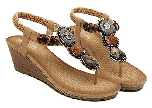 Compensées Femme Sandales Fortuning's JDS® Ethnique abricot Chaussures Style Bohemian wqXZ0xzB