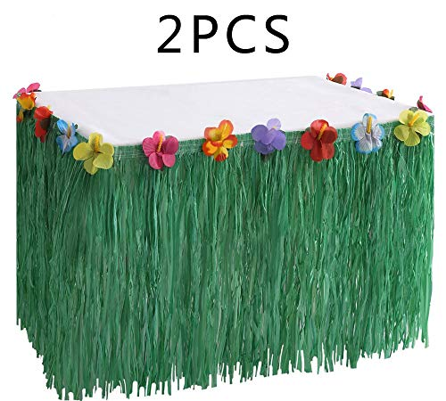 (Moon Boat Hawaiian Luau Grass Table Skirt Decorations Hula - Hibiscus Tropical Pool Birthday Party Supplies (2)