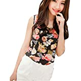 Bolayu Women Casual Sleeveless Chiffon Flower Shirt Blouse Vest Tank Tops (Black)