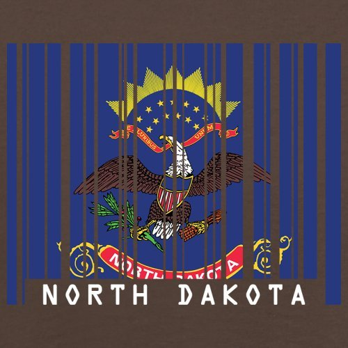 North Dakota / Nord-Dakota Barcode Flagge - Herren T-Shirt - Schokobraun - XL