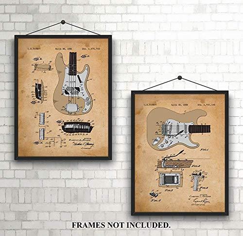 Fender Guitar - Patent Prints - 1956 & 1961 - Unique - Art Wall Decor for Musicians 11 x 14 inch Unframed Art Prints - Tan ()