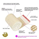 GT USA Organic Cotton Elastic Bandage Wrap | Hook & Loop Fasteners at Both Ends | Latex Free Hypoallergenic Compression Roll for Sprains & Injuries