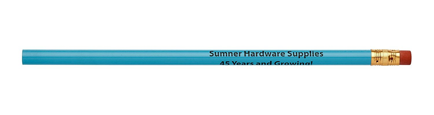Pencil Guy Promotional Personalized Imprinted Round Pencils.-1000 per Box Light Blue