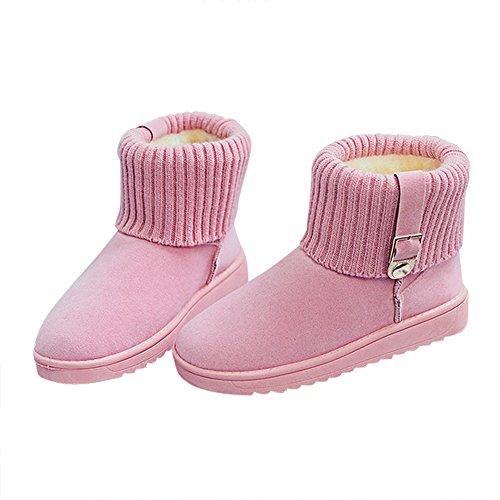 Botas De Nieve De Invierno Para Mujer Óptima Botas De Tobillo Caliente De Forro De Piel TotalHombreste Torneada Resistente Al Deslizamiento Pink-b