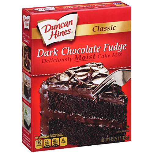 Duncan Hines Mix Cake Chocolate - Duncan Hines Classic Cake Mix, Dark Chocolate Fudge, 15.25 Ounce (Pack of 2)