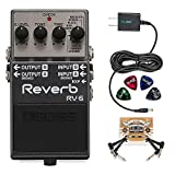 BOSS RV-6 Digital Reverb Pedal BUNDLED WITH 2 Pack of Blucoil Pedal Patch Cables, Power Supply Slim AC/DC Adapter for 9 Volt DC 670mA...