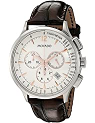 Movado Mens 0606576 Circa Stainless Steel Watch With Brown Leather Band