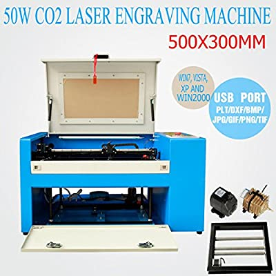 Iglobalbuy 50W CO2 Laser Engraving Machine Engraver Cutter Build-in Air Pump