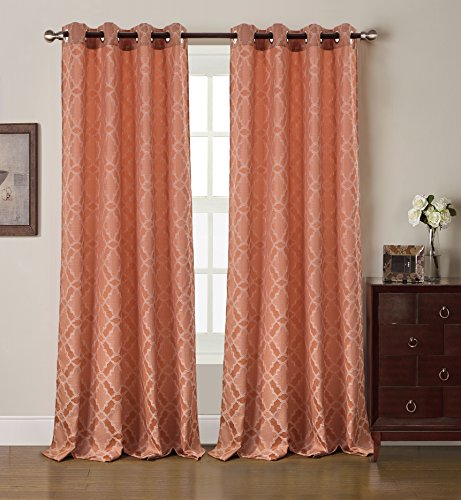 RT Designers Collection Morgan Jacquard 54 x 84 in. Grommet Curtain Panel, Terracotta Review