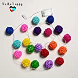 Multicolor, 2M 20 LED : 2M 20 Rattan LED Garland Battery Powered Thai Lanterns For Holiday Bedroom Indoor Decoration String Lights Kids Baby Light Chain