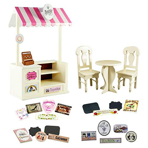 The Queen's Treasures 5 Concession Shops in One! 18 Inch Doll Counter & Café Set with Bakery, Shoe, Pizza, Tea Room and Farm Stands Interchangable Signs! Fits American Girl Dolls ()