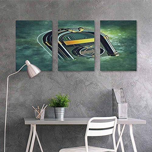 HOMEDD Graffiti Canvas Painting,Jukebox Abstract Grunge Antique Radio Music Box on Blurry Backdrop Print,Office Art Decoration 3 Panels,24x35inchx3pcs Forest Green Yellow and White
