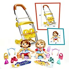 Unbox the fun with the Littles by Baby Alive shop 'N stroll twins doll and stroller toy! This set includes 17 surprise accessories for kids to unbox and use on pretend shopping adventures, or any playdate adventure they can imagine! When kids...