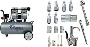 California Air Tools 8010A Ultra Quiet & Oil-Free Lightweight Air Compressor & Accessory Kit, 17 Piece Compressor Inflation Kit, with Blow Gun, Air Chucks & Inflation Needles
