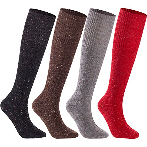 Blend Knee Socks - Lian LifeStyle Women's 4 Pairs Pack High Crew Knee High Wool Boot Socks Size 7-9 4 Colors (Coral,Gray,Black,Coffee)