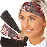 Hipsy Adjustable & Stretchy Xflex Wide Headbands for Women & Girls Gift Pack (3pk Black/Floral/Charcoal Xflex)