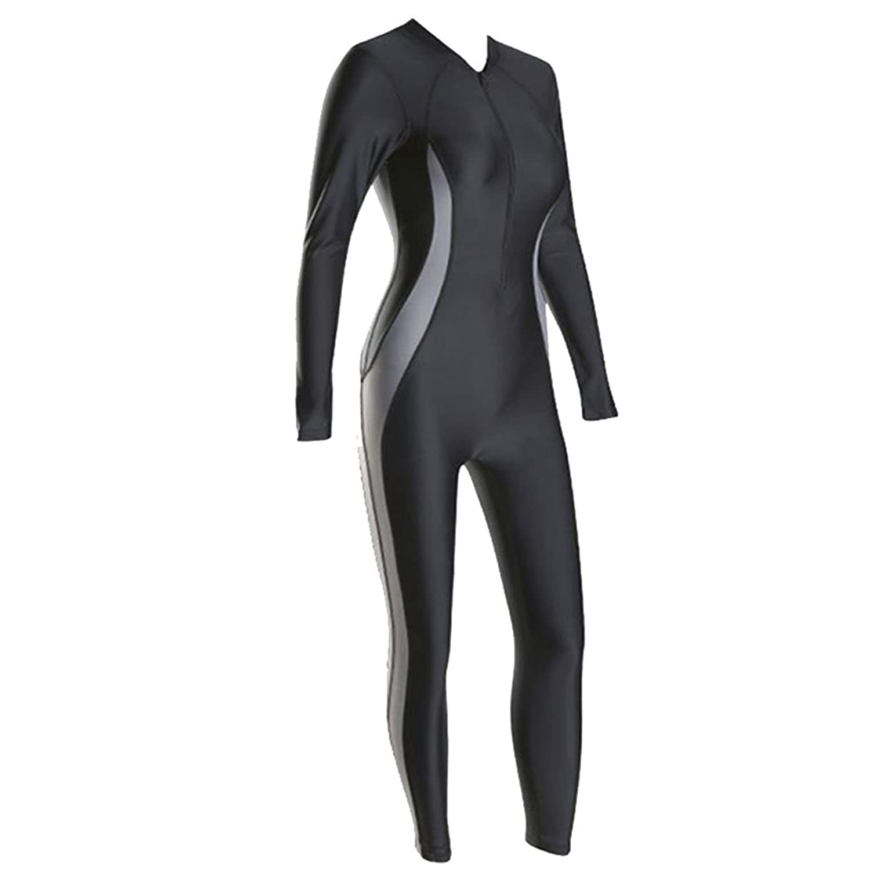 女性の 水着 ウェットスーツ 接続済み 水着 保守的な 日焼け止め ロングスリーブ ビーチ ホリデー サーフィン 水着 B07DHDPRZ8