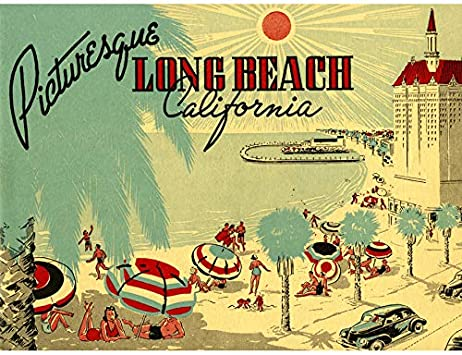 POSTCARD PICTURESQUE LONG BEACH CALIFORNIA BEACH ART POSTER PRINT PICTURE LV6924