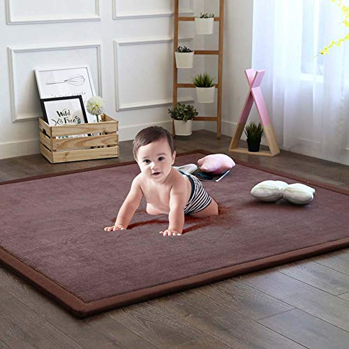 Nursery Rug, Children Baby Toddler Rugs for Living Room Bedroom Play Mat Floor Mat Foam Mat Japanese Tatami Mat Yoga Mat Thick Soft Cozy Non-Toxic Easy to Clean, Coffee, 59 by 79 Inch (Memory Rugs Room For Foam Living)
