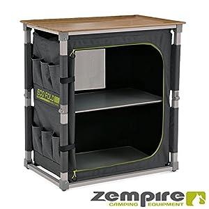 Zempire Design Campingschrank mit Einer natürlichen und wetterfesten Bambusplatte, vollständig Faltbar + Extrem Robust…