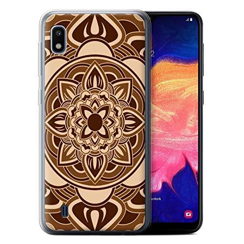 eSwish Gel TPU Phone Case/Cover for Samsung Galaxy A10 2019 / Petal/Sepia Design/Mandala Art -